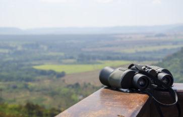 binoculars on a bench